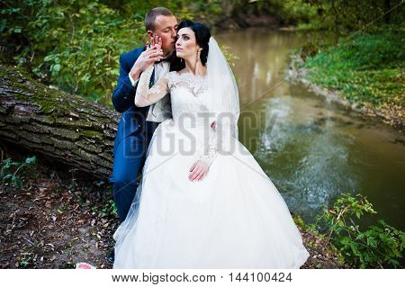 Wedding Couple Sitting On Cut Down Tree Background The River