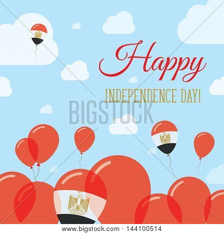 Egypt Independence Day Flat Patriotic Design. Egyptian Flag Balloons. Happy National Day Vector Card