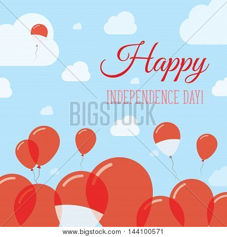 Indonesia Independence Day Flat Patriotic Design. Indonesian Flag Balloons. Happy National Day Vecto