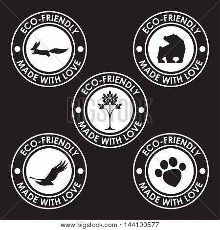 Round Old Distort Eco Friendly Stamps. Nature, Animal Products, Wildlife Theme.