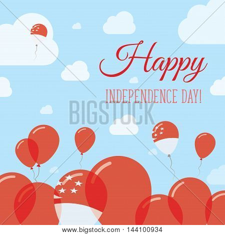 Singapore Independence Day Flat Patriotic Design. Singaporean Flag Balloons. Happy National Day Vect
