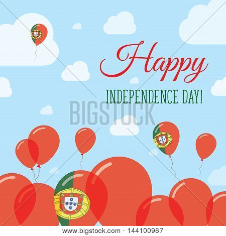 Portugal Independence Day Flat Patriotic Design. Portuguese Flag Balloons. Happy National Day Vector