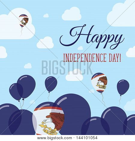 American Samoa Independence Day Flat Patriotic Design. American Samoan Flag Balloons. Happy National