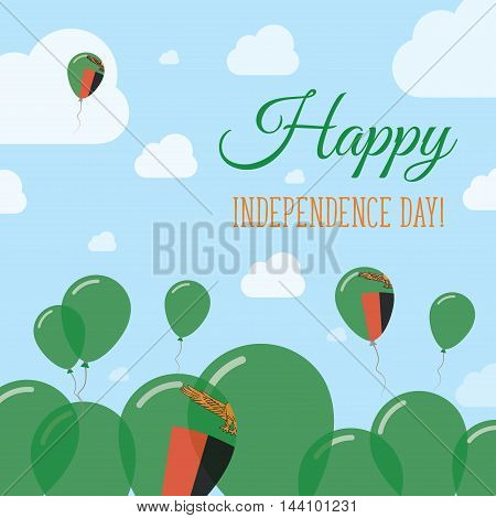 Zambia Independence Day Flat Patriotic Design. Zambian Flag Balloons. Happy National Day Vector Card