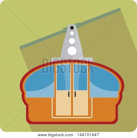 Transportation cable car flat icon Vector Illustration