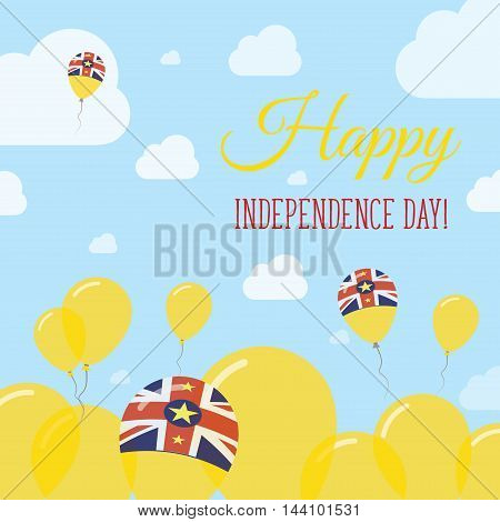 Niue Independence Day Flat Patriotic Design. Niuean Flag Balloons. Happy National Day Vector Card.