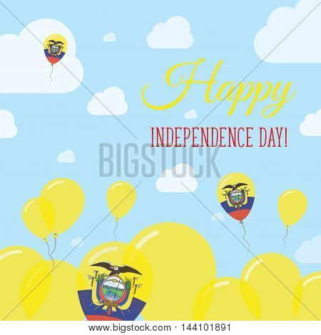 Ecuador Independence Day Flat Patriotic Design. Ecuadorean Flag Balloons. Happy National Day Vector