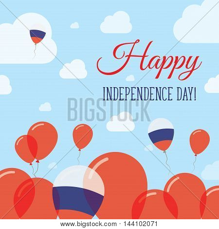 Russian Federation Independence Day Flat Patriotic Design. Russian Flag Balloons. Happy National Day