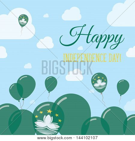 Macao Independence Day Flat Patriotic Design. Chinese Flag Balloons. Happy National Day Vector Card.