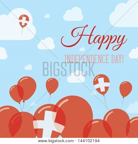 Switzerland Independence Day Flat Patriotic Design. Swiss Flag Balloons. Happy National Day Vector C