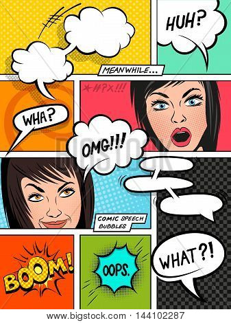 Comic Speech Bubbles on a comic strip background with expressions. vector illustration