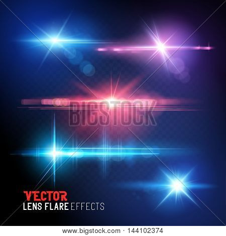 A set of vector lens flare and sun light flares - special effects.
