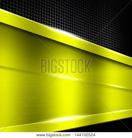 yellow metal frame on black metallic mesh. metal background. 3d illustration.