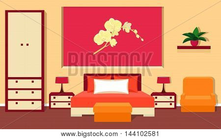 Bedroom interior in red and orange colors. Vector illustration.