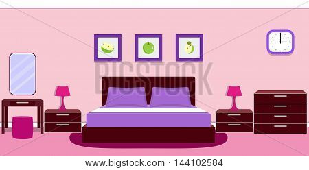 Bedroom interior with furniture - bed, bedside lamp, mirror, table, ottoman, chest of drawers in violet colors. Vector illustration.