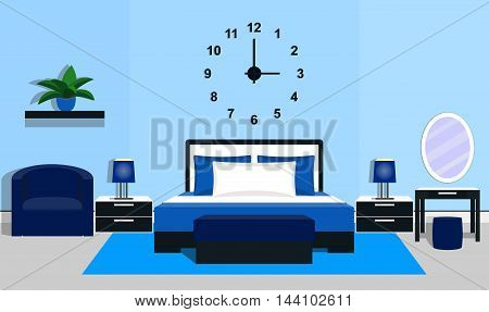 Bedroom interior with furniture in blue colors. Vector illustration
