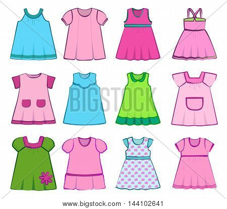 Set children's summer dresses on a white background. Vector illustration.