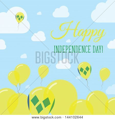 Saint Vincent And The Grenadines Independence Day Flat Patriotic Design. Saint Vincentian Flag Ballo