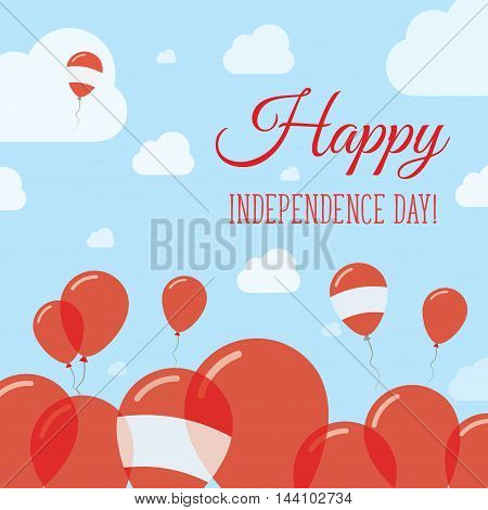 Austria Independence Day Flat Patriotic Design. Austrian Flag Balloons. Happy National Day Vector Ca