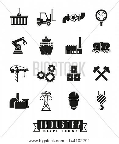 Industry icon set. Collection of 16 solid black industry themed vector icons