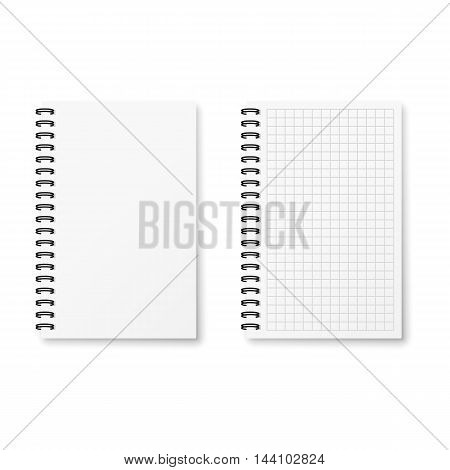 Two realistic notebooks in a checkered and clear.