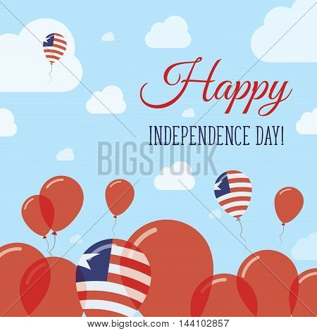 Liberia Independence Day Flat Patriotic Design. Liberian Flag Balloons. Happy National Day Vector Ca