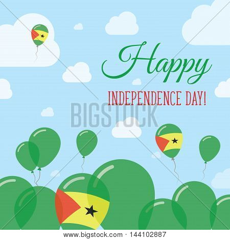 Sao Tome And Principe Independence Day Flat Patriotic Design. Sao Tomean Flag Balloons. Happy Nation