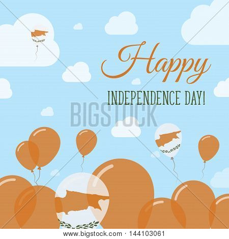 Cyprus Independence Day Flat Patriotic Design. Cypriot Flag Balloons. Happy National Day Vector Card