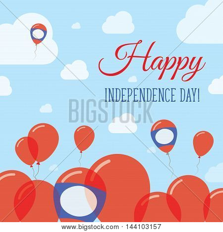Lao People's Democratic Republic Independence Day Flat Patriotic Design. Laotian Flag Balloons. Happ
