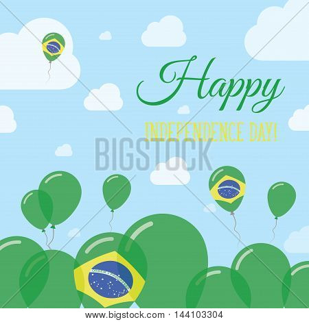 Brazil Independence Day Flat Patriotic Design. Brazilian Flag Balloons. Happy National Day Vector Ca