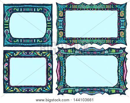 Doodle frames set. Tribal sketch collection of frames. Ethnic aztec style vector illustration. Drawn island native ornaments.