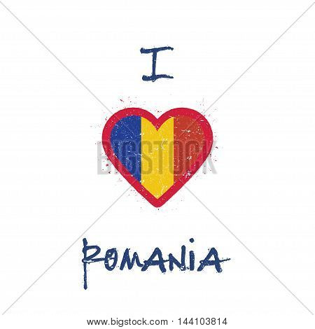 I Love Romania T-shirt Design. Romanian Flag In The Shape Of Heart On White Background. Grunge Vecto