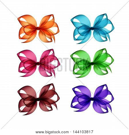Vector Set of Colored Bright Orange Pink Purple Blue Light Green Brown Transparent Gift Bows Close up Isolated on White Background