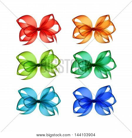 Vector Set of Colored Bright Red Orange Blue Light Green Emerald Transparent Gift Bows Close up Isolated on White Background
