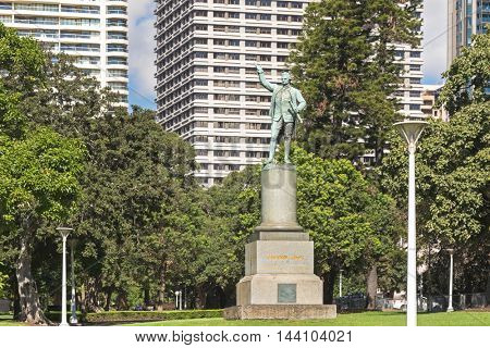 SYDNEY, AUSTRALIA - APRIL, 2016 : Status of Captain James Cook at Hyde Park in Sydney, Australia on April 20, 2016. Designed by Thomas Woolner, erected to commemorate discovery of Australia in 1770.