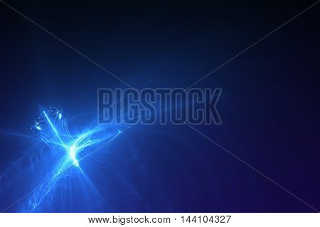 set 7 lighting effect abstract background. blue glow energy wave.