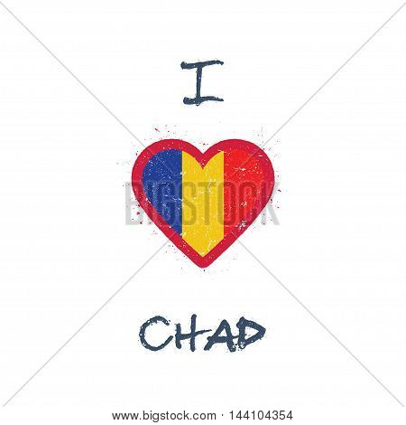 I Love Chad T-shirt Design. Chadian Flag In The Shape Of Heart On White Background. Grunge Vector Il