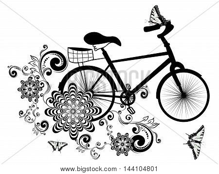Bicycle And Floral Ornament