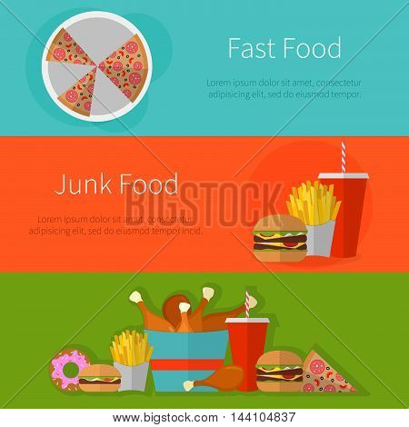 Fast Food Banner Design Concept. Flat Icons Of Junk Food. Illustration Of Unhealthy Food, Diet Or Re