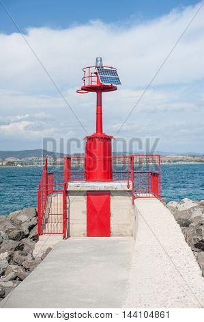 Red Marine Warning  Beacon On Harbor Dock