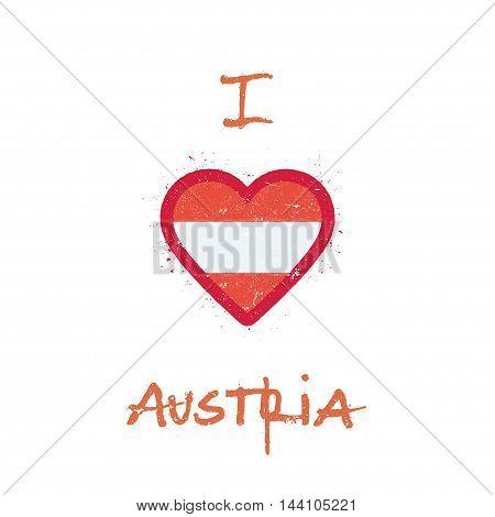 I Love Austria T-shirt Design. Austrian Flag In The Shape Of Heart On White Background. Grunge Vecto