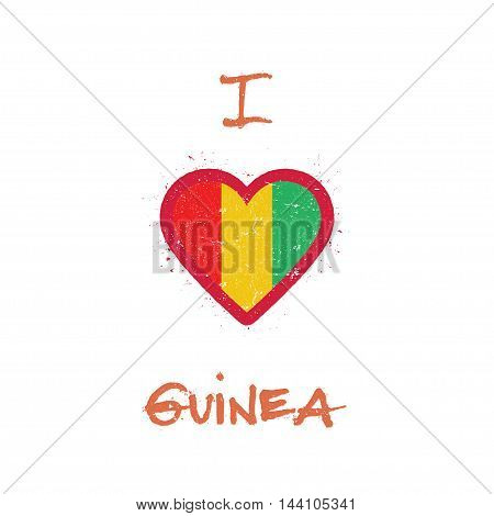 I Love Guinea T-shirt Design. Guinean Flag In The Shape Of Heart On White Background. Grunge Vector
