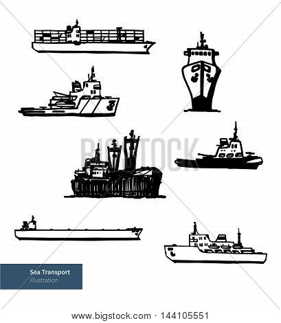 Ship Boats. Vector Sea Transport Illustration. Black on White Background.