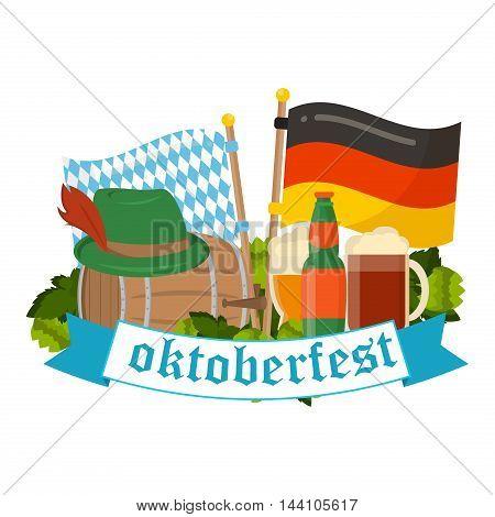 Oktoberfest celebration vector poster. Oktoberfest vector text. Beer Oktoberfest German festival keg of beer, bottle beer. Festive Oktoberfest Banners, Headers with Beer, Wurst, Flag and Pretzel.