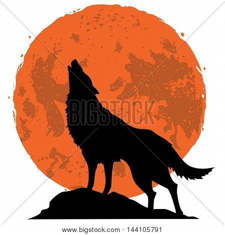 Wolf Howling At The Moon Wolf In The Midnight Vector Illustration