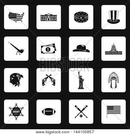 USA icons set in simple style. American symbols set collection vector illustration