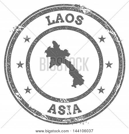 Lao People's Democratic Republic Grunge Rubber Stamp Map And Text. Round Textured Country Stamp With