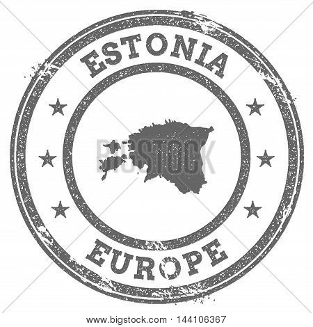 Estonia Grunge Rubber Stamp Map And Text. Round Textured Country Stamp With Map Outline. Vector Illu