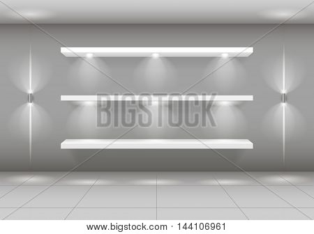 Shop-window shelf for white goods illuminated against the background of a gray wall of the store. Vector graphics