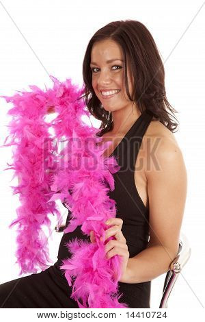 Black Dress Pink Boa Woman